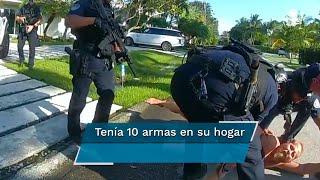 En las imágenes se ve a Brad Parscale que habla con un policía afuera de su casa, luego llega otro agente y lo derriba para poder arrestarlo; tenía 10 armas en su hogar