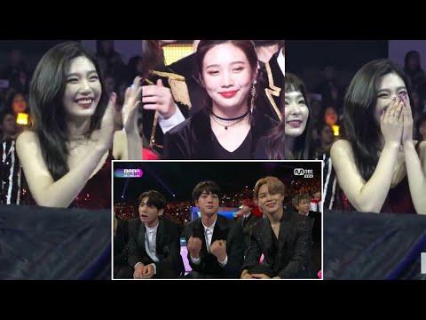Red Velvet Joy reactions whenever BTS is on the screen