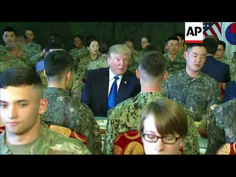 President Trump eats lunch with US, South Korean troops Mp3