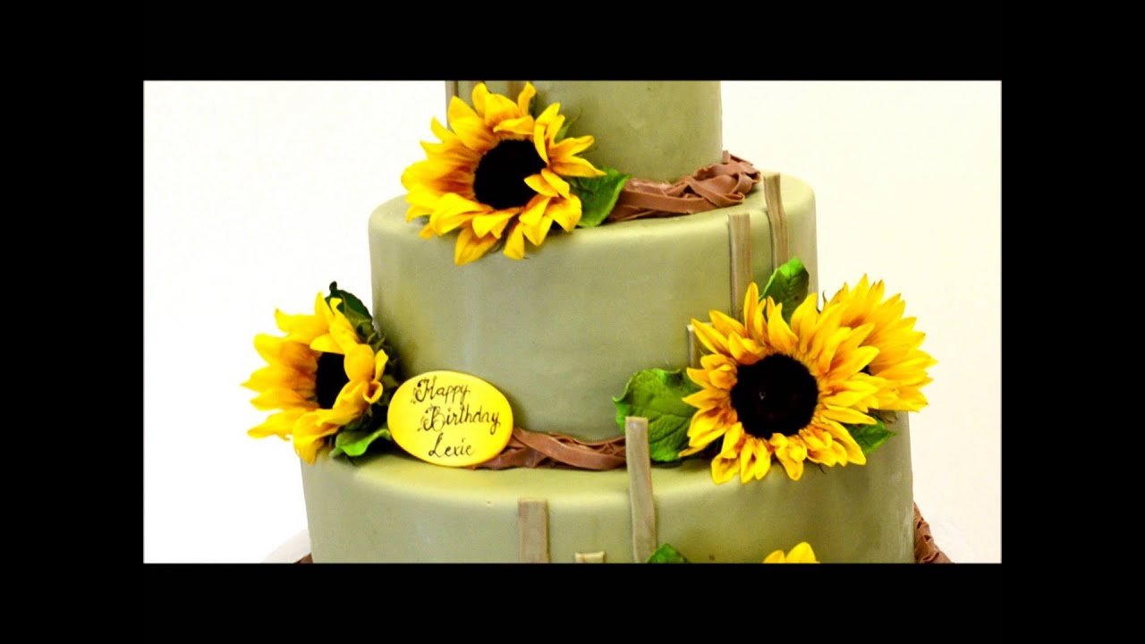 Sunflowers Theme Wedding Cake