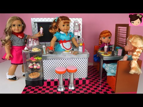 Doll Toy Kitchen Diner With Frozen Elsa & Anna Toddlers - Playing With Restaurant AG Dolls For  Kids