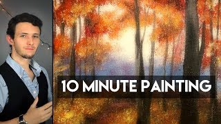 Painting and Autumn Forest Pathway with Fall Leaves and Acrylics in 10 Minutes!