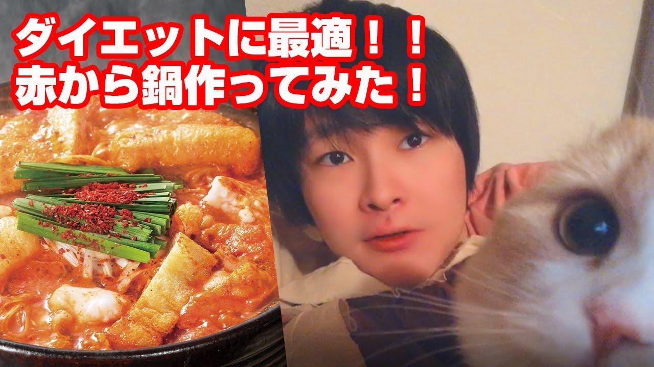 引きこもりニートがダイエットに最適な赤から鍋を作ってみた!【一人暮らしルーティン】