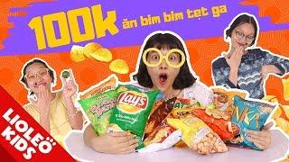 Thử thách 100k ăn bim bim tẹt ga - Tấm Cám chuyện Lio kể - Bé học tiếng Anh cùng Lioleo Kids