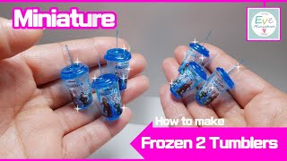 How to make Frozen2 Miniature tumbler Polymerclay & Resin craft 미니어쳐 겨울왕국 투명 텀블러 방드는 방법 폴리머클레이 레진