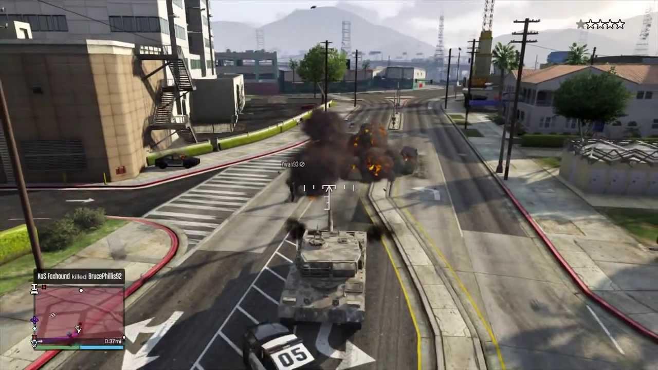 Gta V Rhino Tank Online Gameplay Destroying Players In Free Roam Youtube