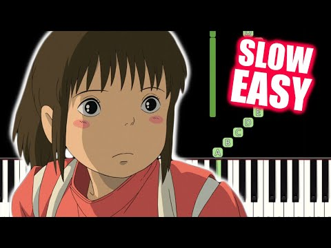 One Summer's Day - Spirited Away - SLOW EASY Piano Tutorial(Synthesia) By TAM