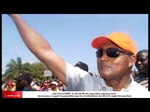 Jean-Pierre FABRE lance un appel au peuple togolais pour manifester les 20 et 21 septembre prochain
