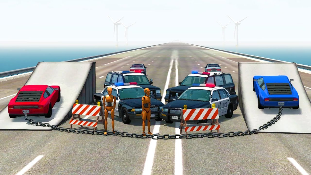 HIGH SPEED POLICE ROAD BLOCK BUSTING! - BeamNG Drive Crash Test Compilation