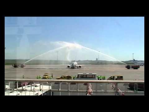 The first Jet2 flight from Edinburgh - water salute