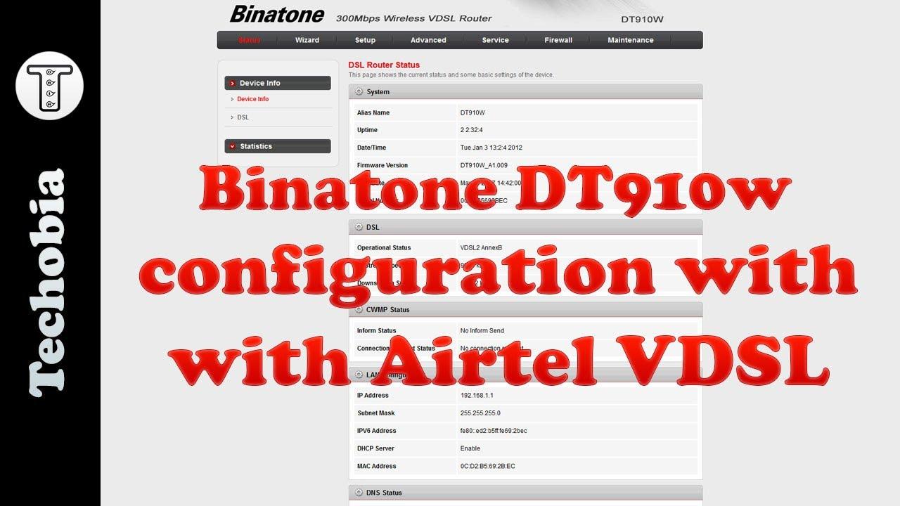 How to change airtel wifi password binatone dt920w