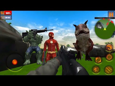 ► Superhero Dinosaur Hunting Frontier Free Shooting - Monster Hulk Survival Shooting Game