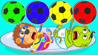 Lion Family | Football & Color Play Fruit | Cartoon for Kids