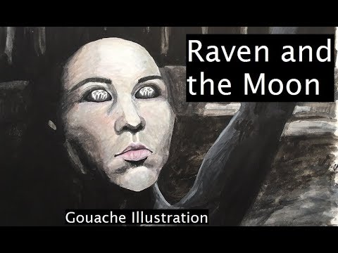 Raven and the Moon - Experiments in Gouache