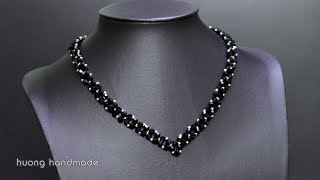 Black Necklace Super Easy For Beginners Jewelry Making At Home D Y Beaded Necklace