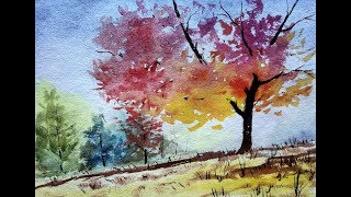 How to Paint A Autumn Tree with Watercolor | Beginners watercolor