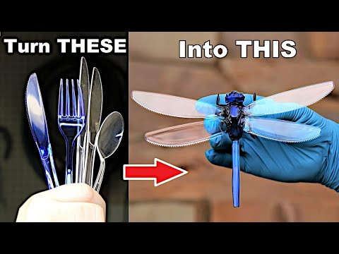 How to turn Plastic Forks into a Praying Mantis & Dragonfly (tutorial)