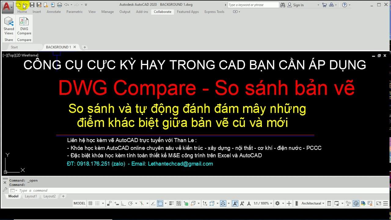 Lệnh CAD hay: DWG Compare – So sánh 2 bản vẽ AutoCAD và tự đánh dấu đám mây   AutoCAD 2020