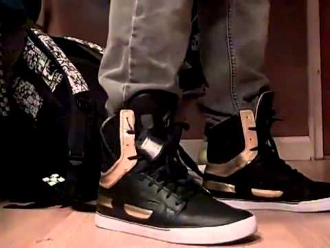 f181f8ff6a Supra Skytop II Black/Gold on foot - YouTube
