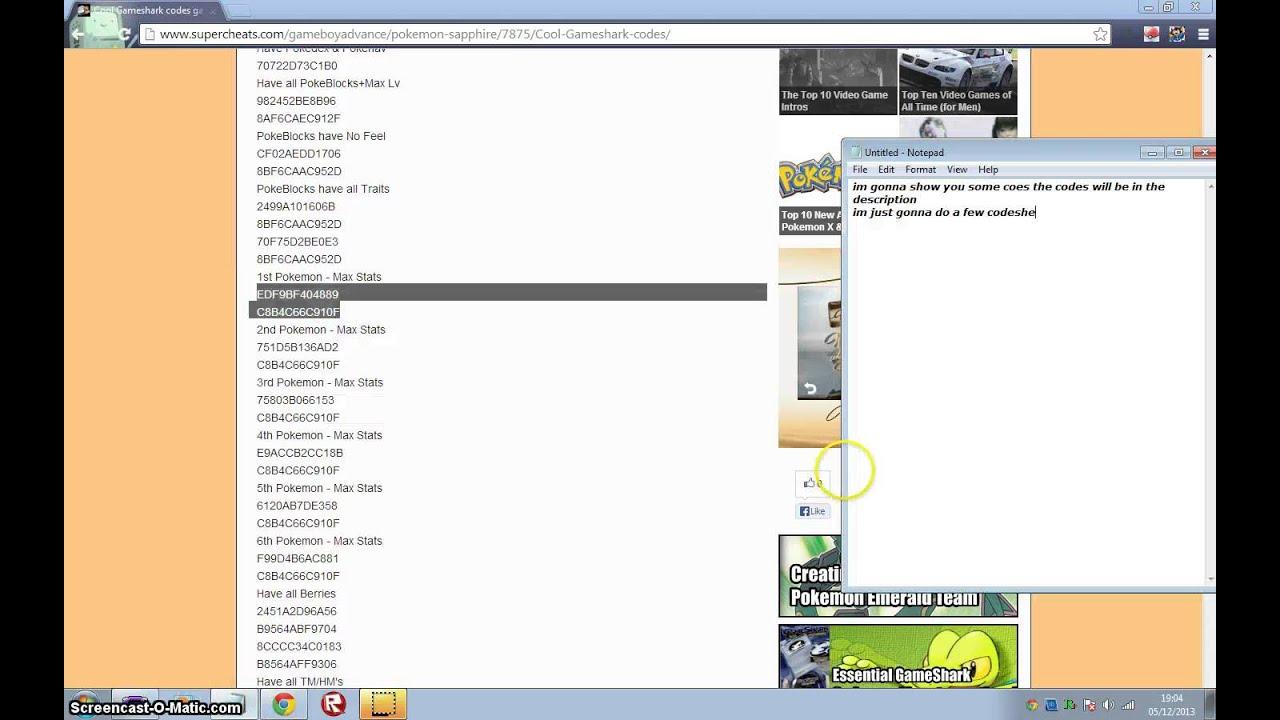pokemon sapphire gameshark codes - HD1440×900