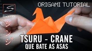 Como dobrar um tsuru que bate asas Origami - Flapping Bird Tsuru Origami Tutorial - SHINDIMASTER