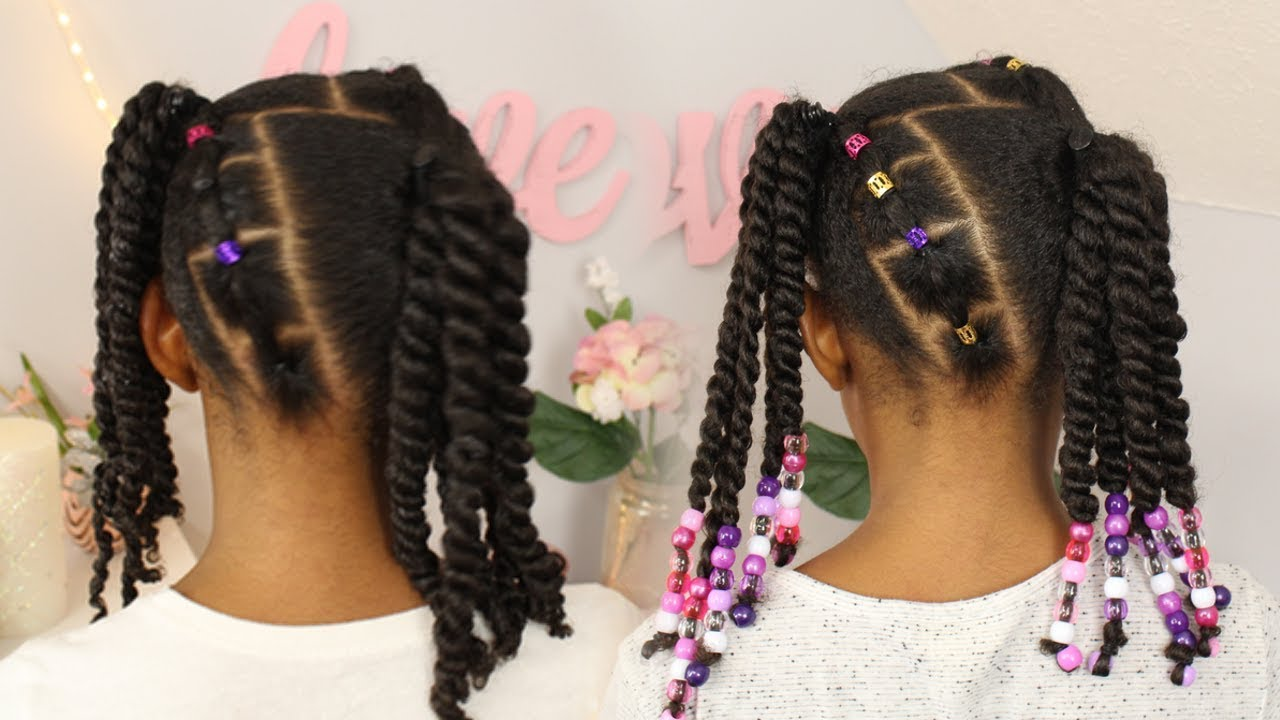 2 ponytails | 2 strand twists ▸ kids natural hairstyle