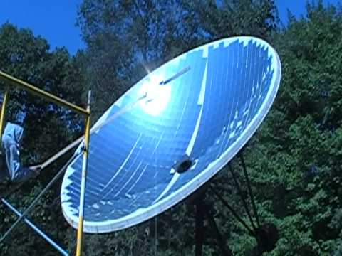 Solar Parabolic Dish Hot Water Heater Youtube