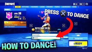 HOW TO DANCE IN MAIN LOBBY IN FORTNITE BATTLE ROYALE! DANCE WITH FRIENDS IN LOBBY (FORTNITE)
