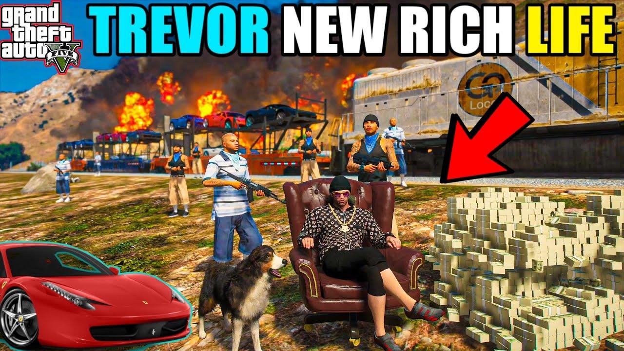 GTA 5 : TREVOR NEW RICH LIFE STEALING 100 FERRARI ON TRAIN | GTA 5 GAMEPLAY #1