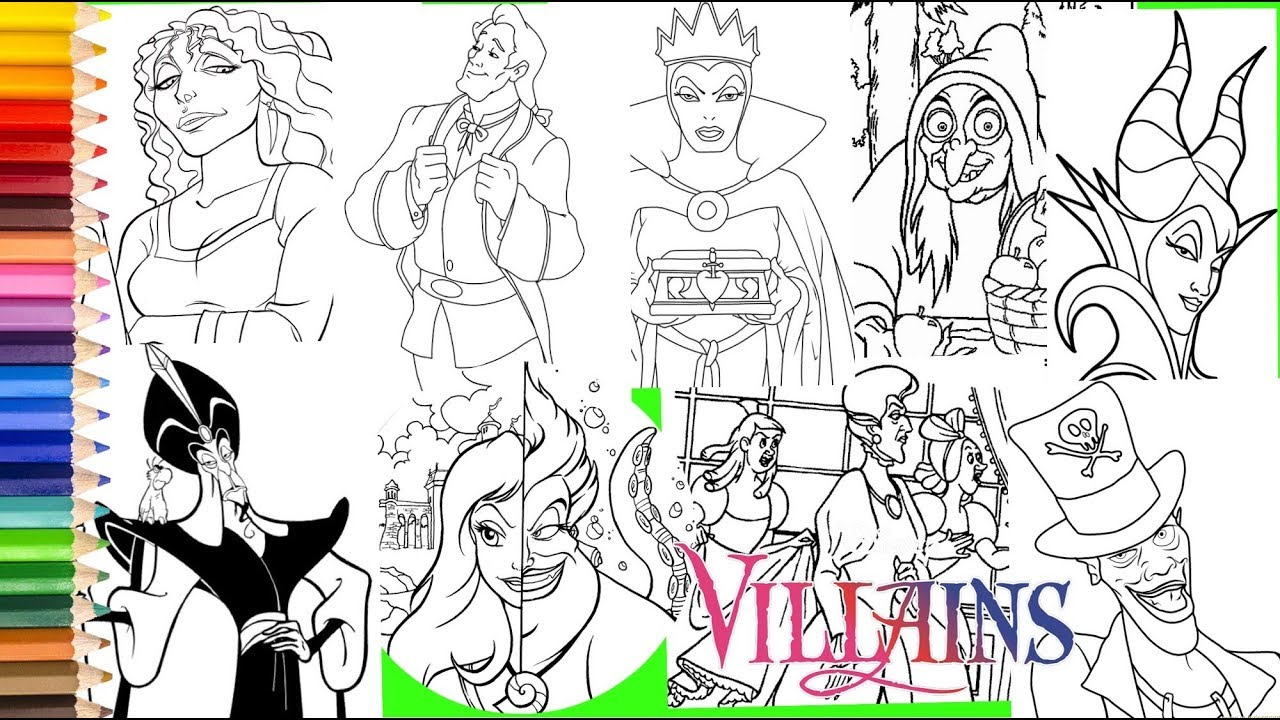 Disney Villain Ursula Vanessa Jafar Mother Gothel More Coloring Pages For Kids Youtube