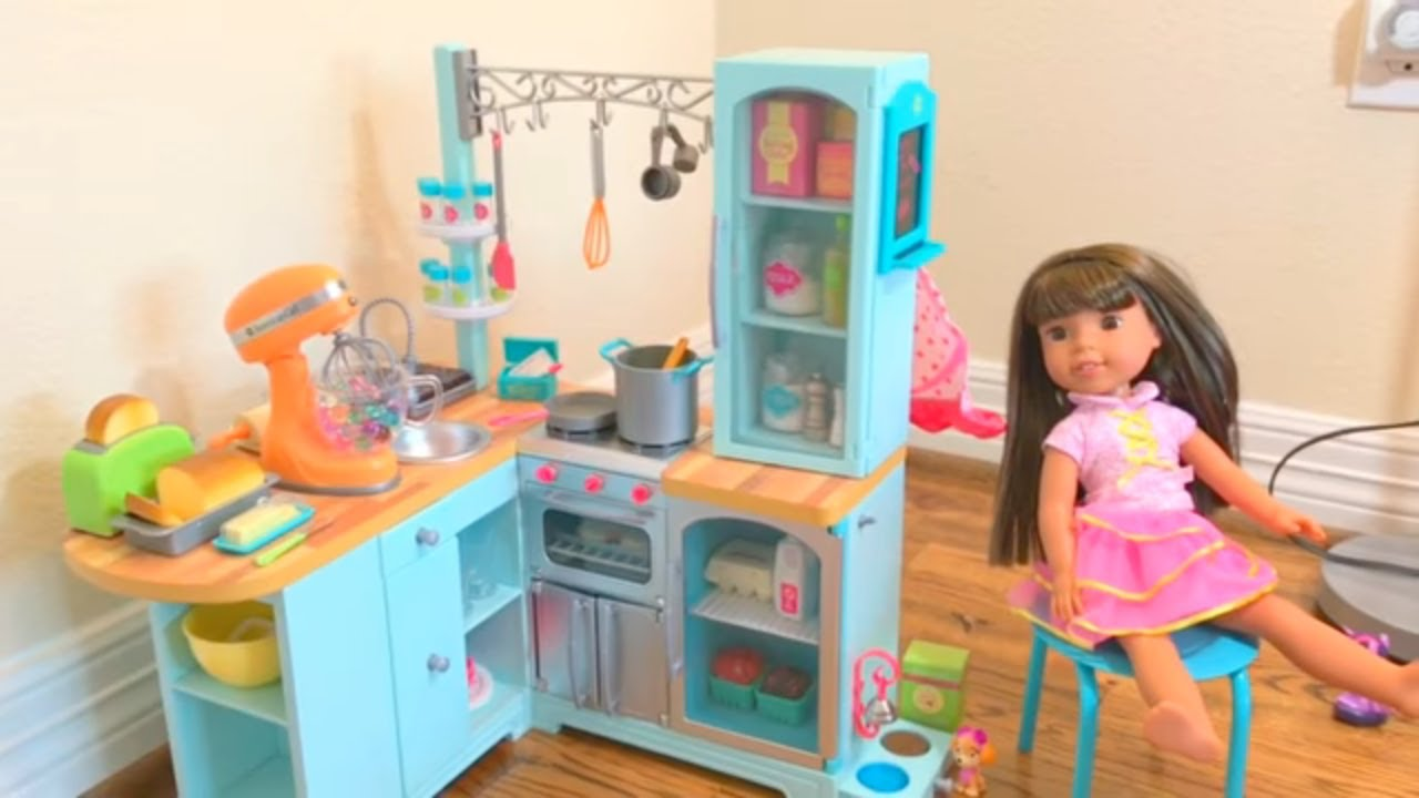 American girl doll gourmet kitchen set new youtube for Kitchen set video song
