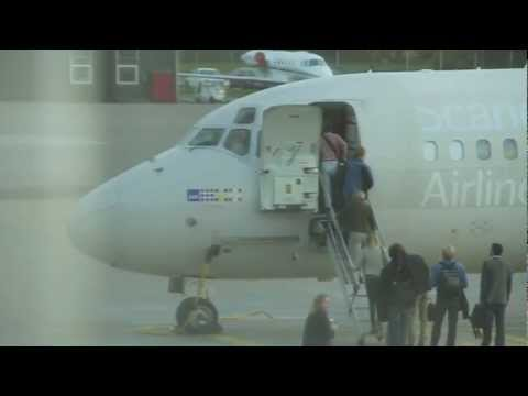 Scandinavian Airlines SAS MD82 loading before take-off - Aalborg Airport