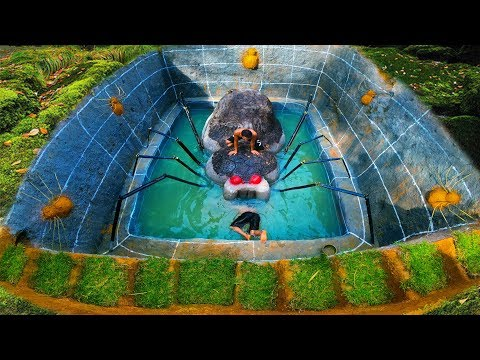 Build The Most Secret Underground Swimming Pool Around Underground House - Primitive Survival