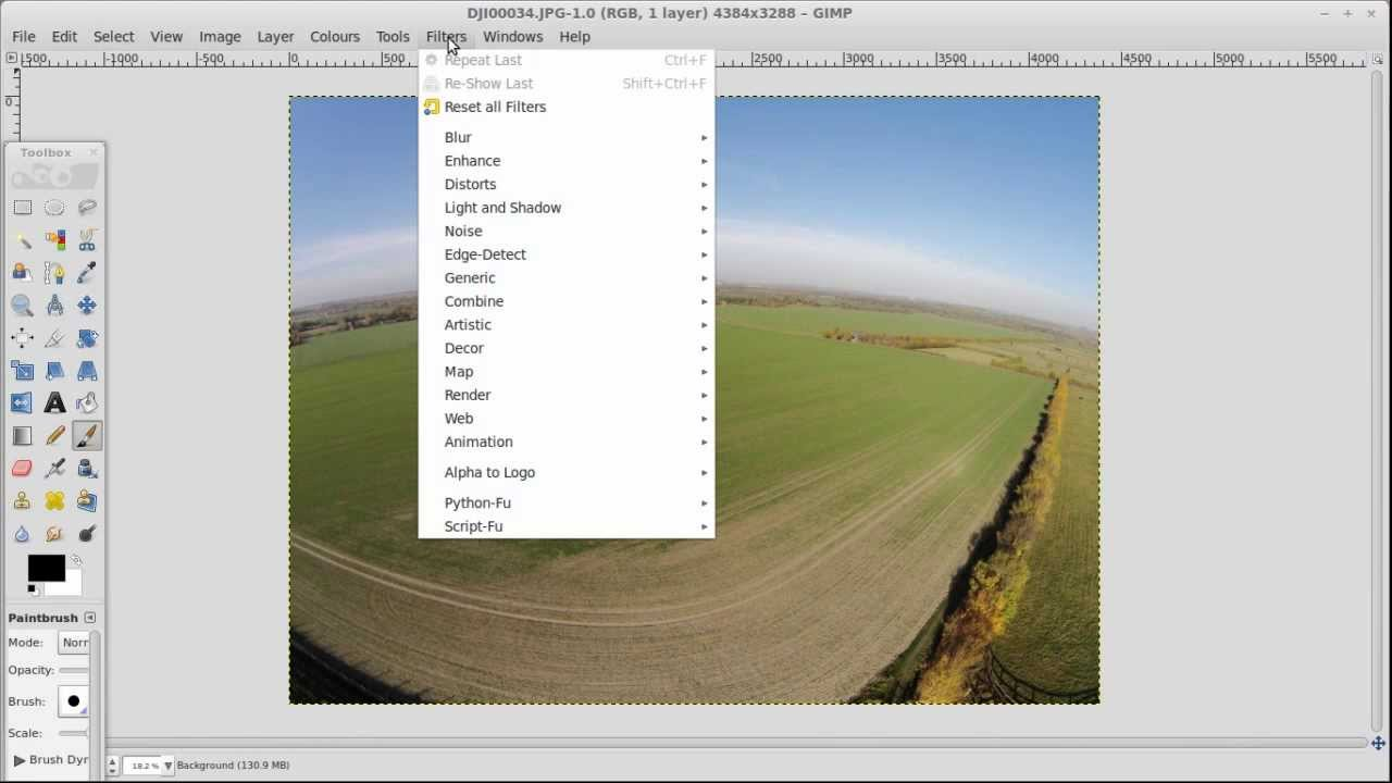 How to remove fisheye lens distortion for free on Phantom 2 Vision photos  using GIMP