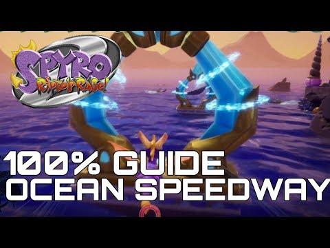 Spyro 2 Ripto's Rage (Reignited) 100% Guide OCEAN SPEEDWAY (ALL GEMS, ORBS...)