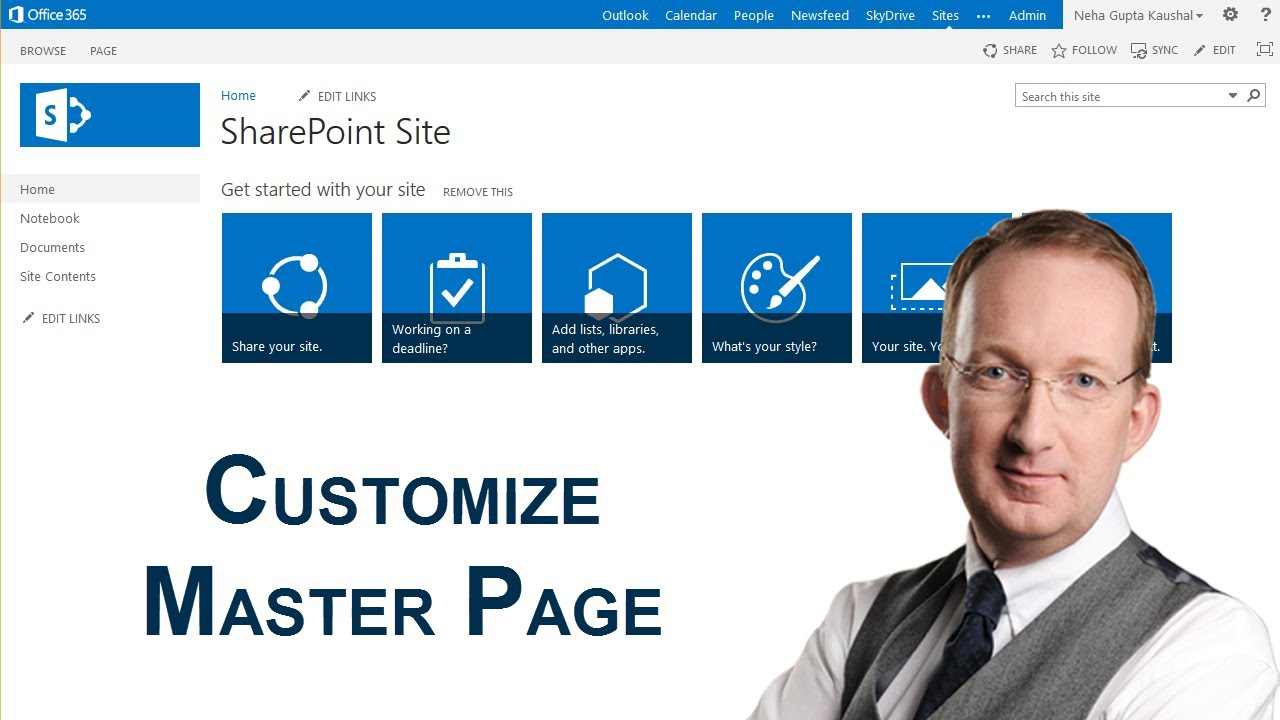 Customize a sharepoint 2013 master page youtube for Sharepoint 2013 document library template