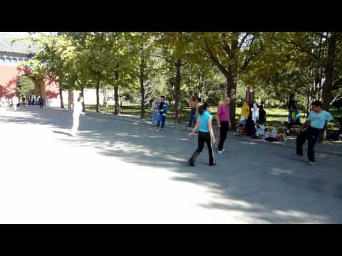 Chinese people playing Hacky Sack in Beijing, China