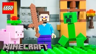 Stop Motion LEGO Minecraft The First Night by Kinder Playtime Steve Creeper Pig