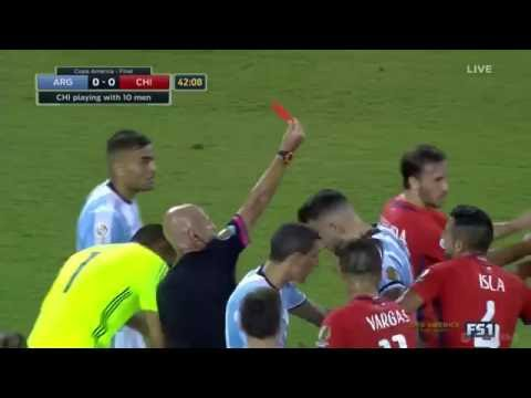 Marcos Rojo Red Card   Argentina vs Chile   2016 Copa America FINAL   June 26, 2016