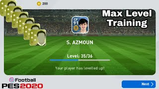 Pes 2020 Mobile | Player Training to Max Level with Trainers || Max Level player training in pes 20