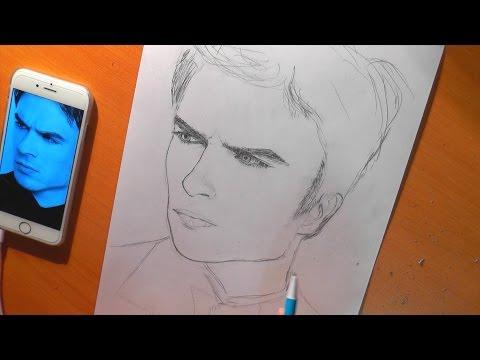 Рисуем Йена Сомерхолдера - Деймона Сальваторе/ Drawing of Ian Somerhalder - Damon Salvatore