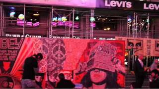 the obey x levis project by shepard fairey 10 29 times square live installation