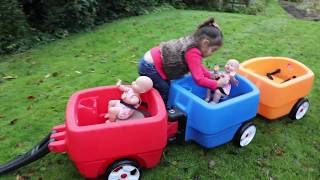 One of Emily Tube's most viewed videos: Baby Dolls RideOn Wagon Cars Long Slide