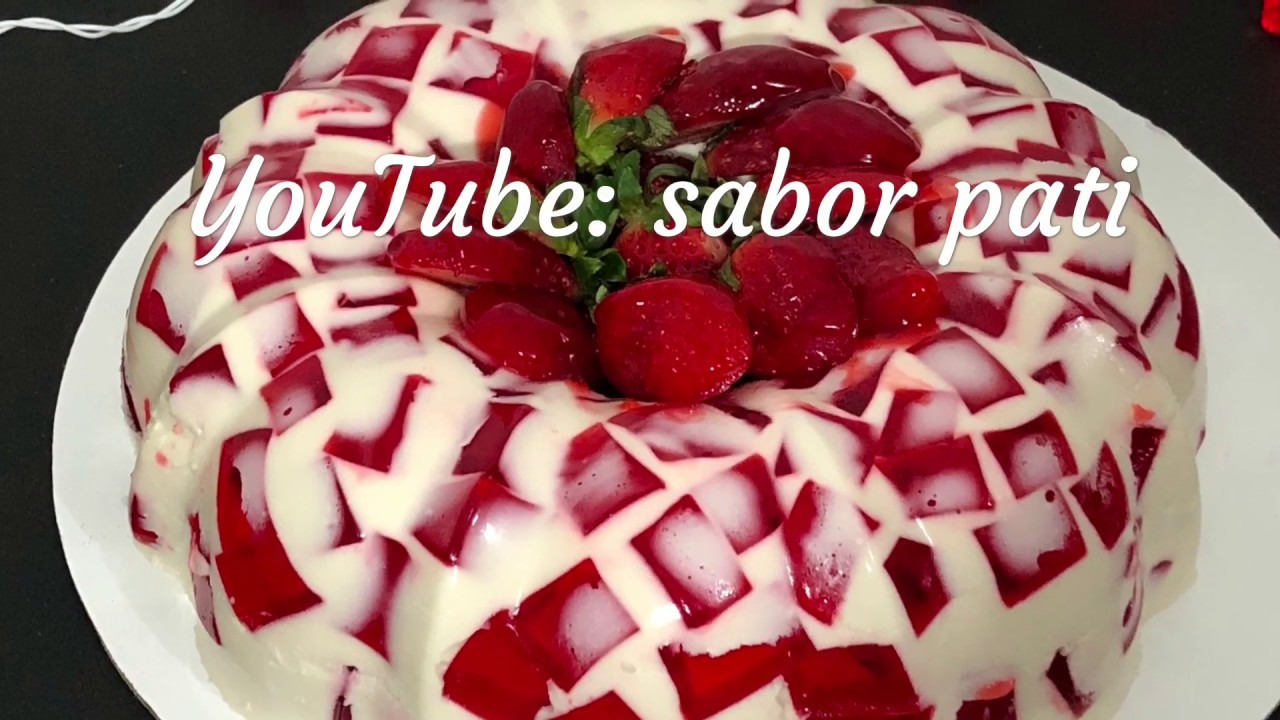 Gelatina Mosaico De Fresa Cremosa Youtube