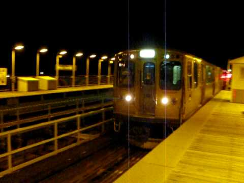 """CTA """"L"""": East 63rd Branch Train Arriving at Cottage Grove"""