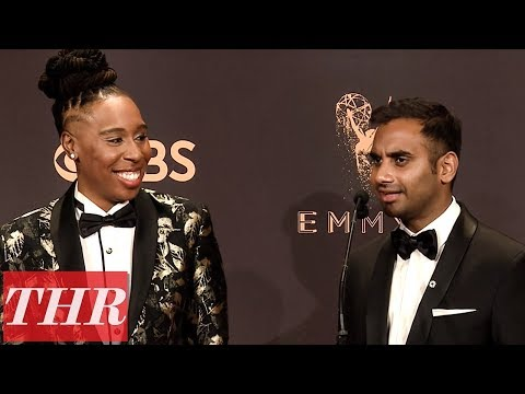 'Master of None' Aziz Ansari & Lena Waithe Post Emmy Win Press Room Q&A | THR