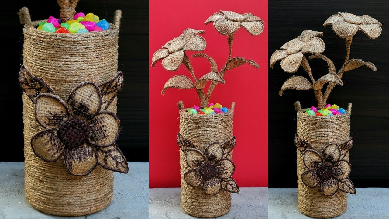 How To Make Decorative Jute Flower Vase Diy Jute Flower Pot Best