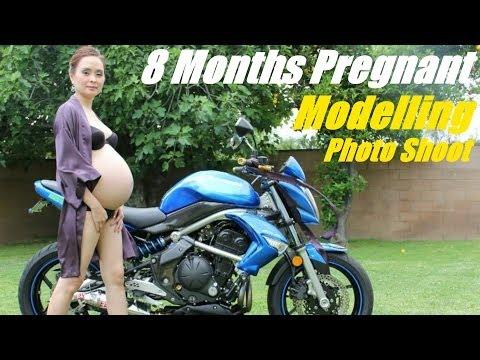 Pregnant Woman Motorcycle Photo Shoot - Kawasaki ER-6N Standard Econo Motorcycle