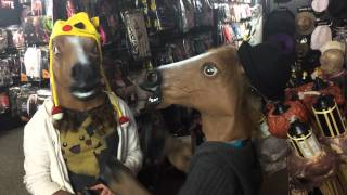 Underground fight club for teen girls wearing horse masks