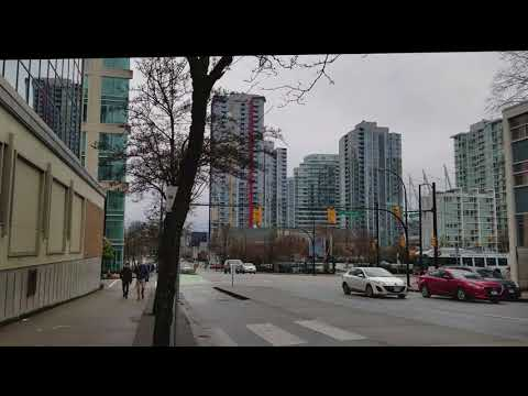 Vancouver WALK: DUNSMUIR STREET From Cactus Club on Burrard Street to International Village